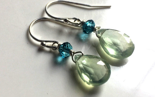 Blueberry Lime, Prehnite and Teal Blue Earrings