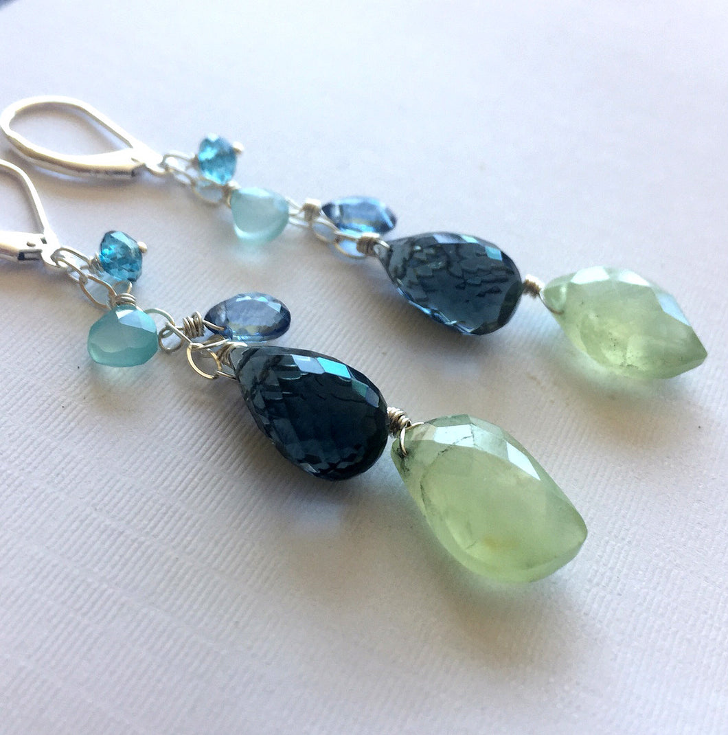 Prehnite Cascade Earrings, Earwire options, OOAK