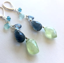 Load image into Gallery viewer, Prehnite Cascade Earrings, Earwire options, OOAK