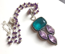 Load image into Gallery viewer, Principessa Pendant Necklace, Blue Tourmaline and Amethyst
