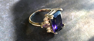 Amethyst Purple Fun Ring, size 7.25, OOAK