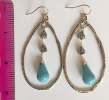 Load image into Gallery viewer, **STERLING* ( disregard photo metal). Sterling Pyrite Booty Turquoise and Pyrite Hoop Earrings, Silver