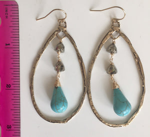 **STERLING* ( disregard photo metal). Sterling Pyrite Booty Turquoise and Pyrite Hoop Earrings, Silver