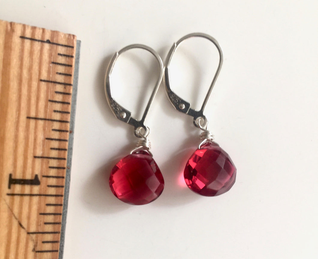 Perfect Red Single Stone Earrings, Sterling, Gold or Rose Gold