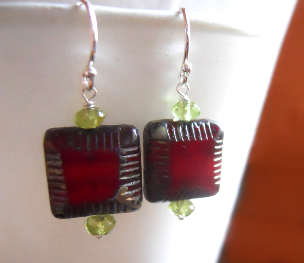 Peridot and Red Czech Glass Square Earrings