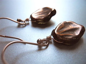 Rose Gold Czech Leaf Earrings