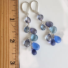 Load image into Gallery viewer, Rhapsody in Blue Cascade Earrings, Shorter version, ( 3 metal and earwire choices )