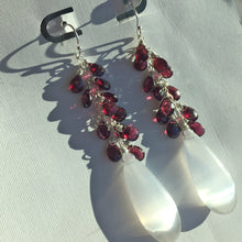 Load image into Gallery viewer, Selenite and Rhodolite Garnet Cluster Dangles