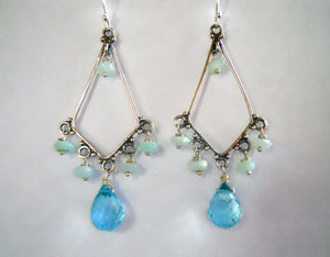 Rooftop Boho Opal Teardrop Chandelier Earrings