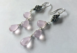 Rose Chalcedony Art Deco Dangles