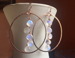"Deborah Hammered Hoop Earrings in Moonstone and 14K ROSE Gold Filled, Size: 50mm, 2"", Metal choices"