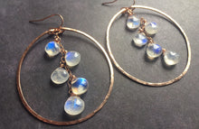 "Load image into Gallery viewer, Deborah Hammered Hoop Earrings in Moonstone and 14K ROSE Gold Filled, Size: 50mm, 2"", Metal choices"