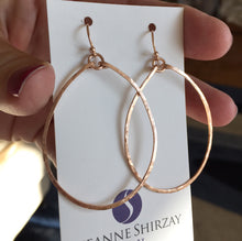 Load image into Gallery viewer, Olivia Hammered Hoop Earrings in 14k Rose Gold Filled Size: Medium