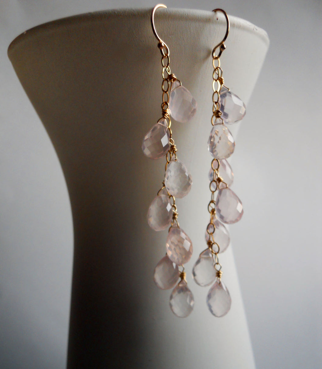 Rose Quartz Cascade Teardrop earrings