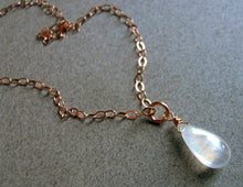 Load image into Gallery viewer, Moonstone PEAR  solitaire Necklace in ROSE GOLD