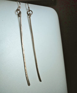 Rose Gold Hammered Bar Earrings, also available in Sterling and 14K Yellow Gold Filled