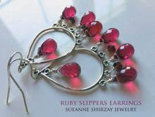 Load image into Gallery viewer, Ruby Slippers Chandelier Earrings