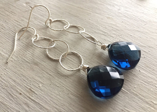 Sapphire Blue Sparkly Hoop Teardrop Earrings