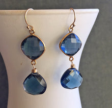 Load image into Gallery viewer, Sapphire Blue Bezel Earrings