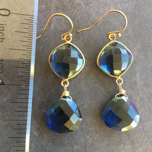 Sapphire Blue Bezel Earrings