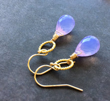 Load image into Gallery viewer, Lavender Scorolite Teardrop Gold Hoop Earring