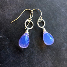 Load image into Gallery viewer, Lavender Scorolite Teardrop Silver Hoop Earring