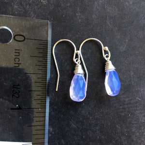Lavender Scorolite Teeny, faceted pear, 3 metal and earwire options