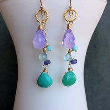 Load image into Gallery viewer, Lavender Scorolite Whimsy Earrings with Brilliant Chalcedony OOAK