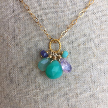 Load image into Gallery viewer, Lavender Scorolite Whimsy Necklace with Brilliant Chalcedony OOAK