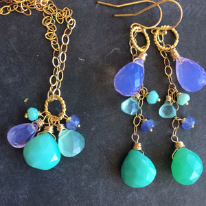 Lavender Scorolite Whimsy Earrings with Brilliant Chalcedony OOAK