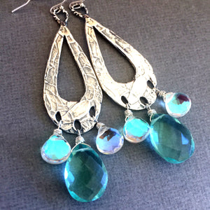 Bohemian Hoops with Seafoam and Flashy Opal Quartz