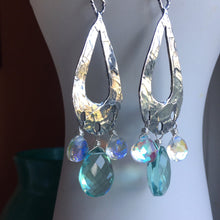 Load image into Gallery viewer, Bohemian Hoops with Seafoam and Flashy Opal Quartz