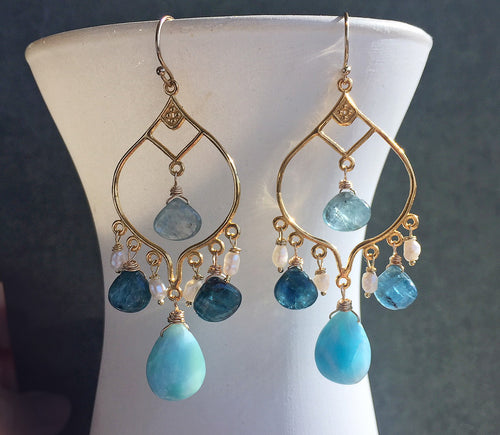 Sea Spray Chandelier Earrings, OOAK