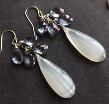 Load image into Gallery viewer, Into the Mist Selenite and Mystic Quartz Dangles, OOAK