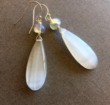 Load image into Gallery viewer, Summer Whites Dangles, Flashy Selenite and Opalite OOAK
