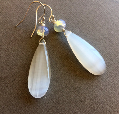 Summer Whites Dangles, Flashy Selenite and Opalite OOAK