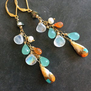 ( see description ) Spring Whimsy Turquoise, Chalcedony. Carnelian and Moonstone and Pearl Cluster Earrings- OOAK