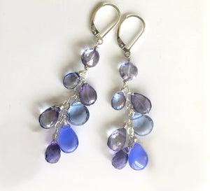 Rhapsody in Blue Cascade Earrings, Shorter version, ( 3 metal and earwire choices )
