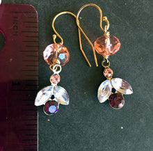 Load image into Gallery viewer, Modern Vintage Swarovski Crystal Dangle Earrings, Petal, Gold Filled