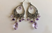 Load image into Gallery viewer, Field of Flowers Amethyst Chandelier Earrings, Earwire options.