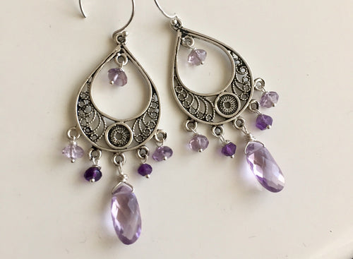Field of Flowers Amethyst Chandelier Earrings, Earwire options.