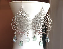 Load image into Gallery viewer, Silver Lace Chandeliers, Mystic Green Teardrops, 1 in stock