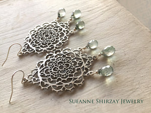 Silver Lace Chandeliers, Mystic Green Teardrops, 1 in stock