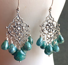 Load image into Gallery viewer, Filigree Earrings with Teal Silverite