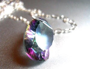 Mystic Quartz Single stone sparkler necklace
