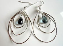 Load image into Gallery viewer, Pirouette Hoop Earrings, Smokey Blue Quartz, Silver