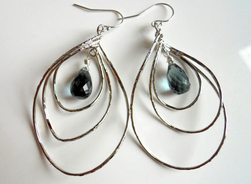 Pirouette Hoop Earrings, Smokey Blue Quartz, Silver