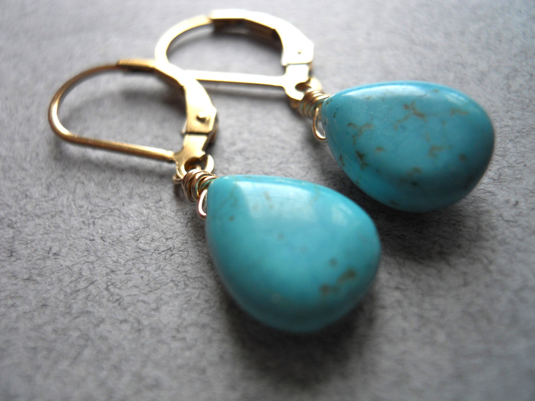 South Shore Petite Turquoise earrings, Leverback or French Ball Earwires