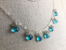 Load image into Gallery viewer, Sparkling Shore Necklace in Teal Quartz and Aquamarine, metal choices