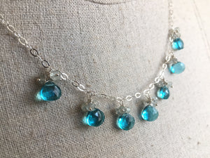 Sparkling Shore Necklace in Teal Quartz and Aquamarine, metal choices